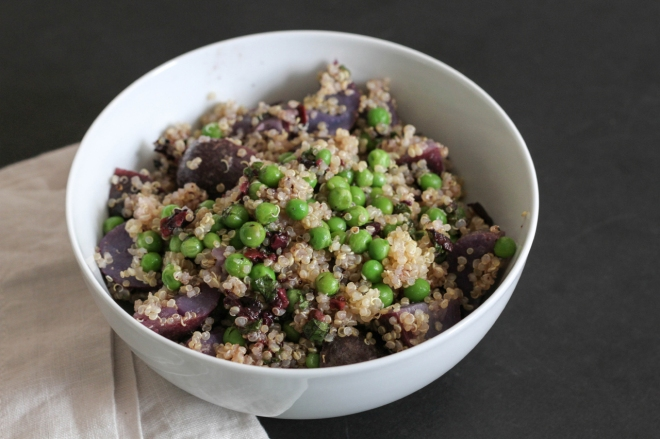 Quinoa with Purple Potatoes and Peas | Lattes & Leggings