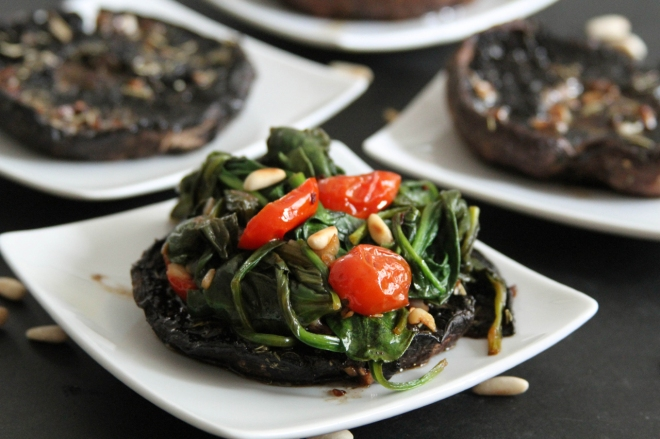 Balsamic Portobellos with Wilted Spinach | Lattes & Leggings