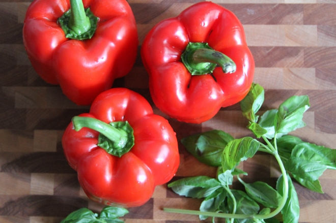 red bell peppers and fresh basil