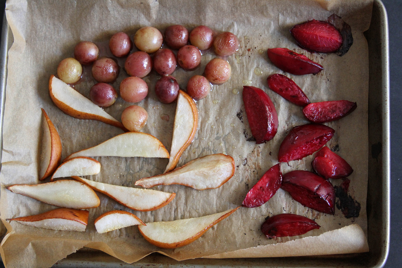 Roasted Fruit and Arugula Salad