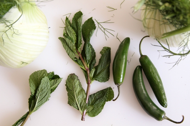 mint serrano chile and fennel