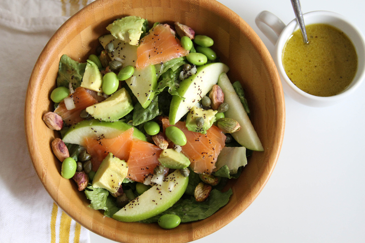 Smoked Salmon Salad with Avocado and Lemon Poppy Dressing | Lattes ...