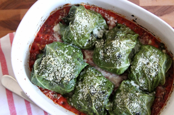 Stuffed Collard Greens with Pecorino | Lattes & Leggings