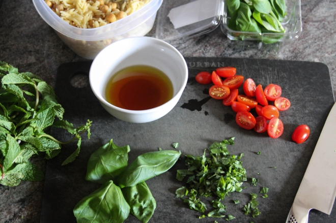 basil, mint, tomato, and vinaigrette