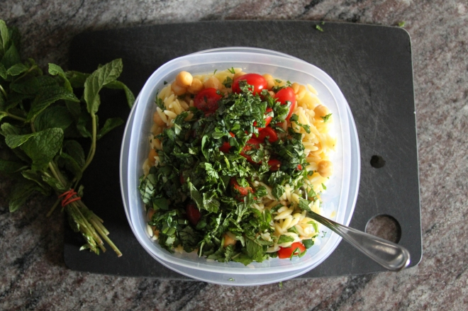 chickpea salad with fresh mint and basil