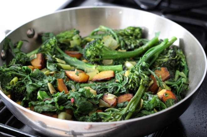 broccolini, chard, and beet saute