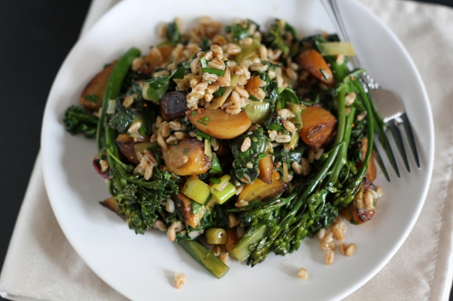 Broccolini, Chard, and Beets with Mustard Vinaigrette | Lattes & Leggings
