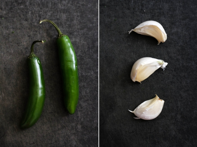 serrano chiles and garlic