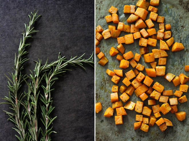 rosemary and roasted sweet potatoes